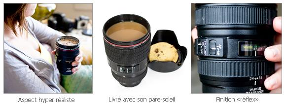 Mug Objectif Photo, la tasse en forme d'objectif d'appareil photo